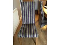 4 High Backed Velour dining chairs with light oak legs in excellent used condition