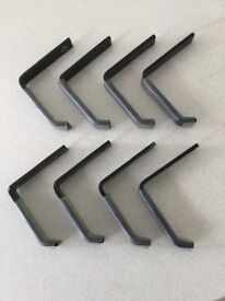 Workshop or garage wall heavy duty hooks 8 off 5 mm thick x 20 mm wide 100 long x 100 deep