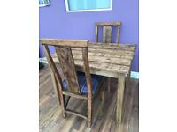Handmade dining table & 2 chairs