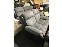 As new grey black 3/2 full recliner suite