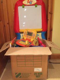 Preschool/nursery activity toys- incl v tech baby computer, shopping toys , art and ride on