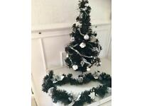 Black Decorated Christmas Tree, with 4 Foot Garland.