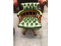 Green Chesterfield Captains Chair