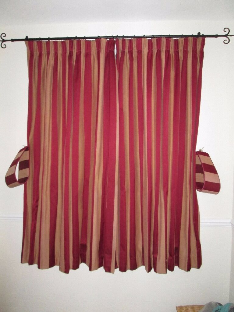 1 Pair Gold And Red Striped Curtains Pencil Pleat Lined Weighted Made