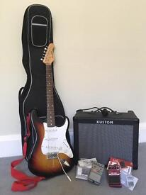 Electric guitar package - Stratocaster, 30w Amp, 2 effects pedals, carry case