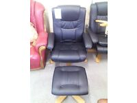 Leather look chair and footstall REF:GT063/GT064