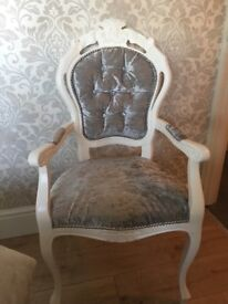 French Louis Crushed velvet diamond buttoned carver with silver beading