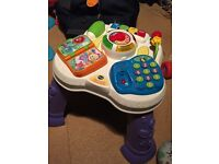 4 great baby toys, walker, vtech play activity table, fisher price roller blocks wall and play mat