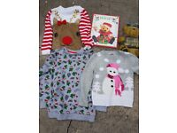 Kids Christmas Jumpers + book and Santa Sign