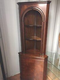 mahogany dark wood corner display cabinet