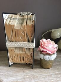 "Folded book art Wedding decoration ""Just Married ""Vintage/Retro"