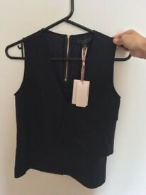 Size 6 Ted Baker Navy V-neck smart work top never used and still has tag on