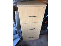 3-Drawer Wooden Filing Cabinet