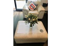 White leather sofa, armchair and footstool