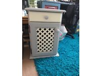Baby changing solid pine cupboard and bedside cabinets painted grey and lemon