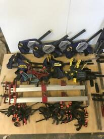 Job lot of hand clamps.