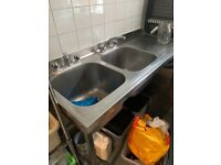 Catering double stainless sink