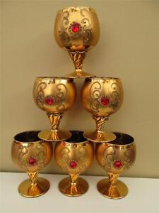 OPULENT SET 6 VINTAGE BOHEMIAN CZECH GOLD GOBLETS WITH RUBY JEWEL EMBELLISHMENT