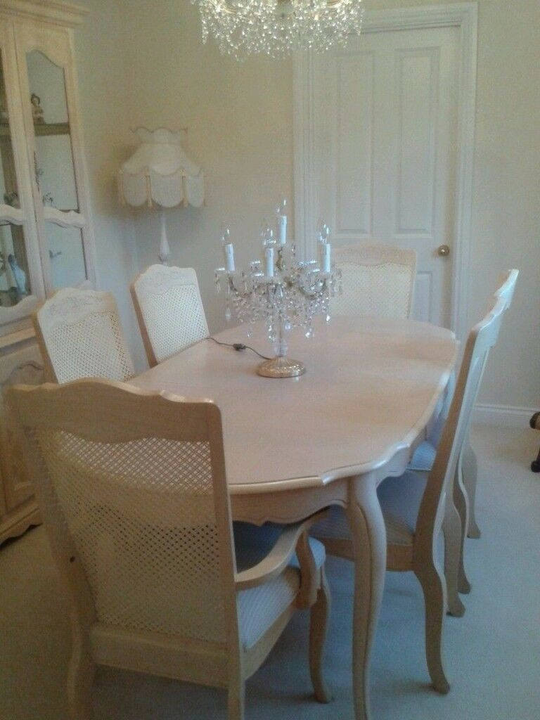 Limed Oak Extendable Dining Table And Chairs Upholstered In Laura Ashley Fabric