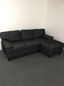 Brand new and still in box black grey corner sofa settee new