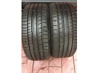 2 x 225/40/18 continental conti contact sport 5 tyres