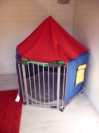 Babydan hexagonal playpen with play tent and two floor mats
