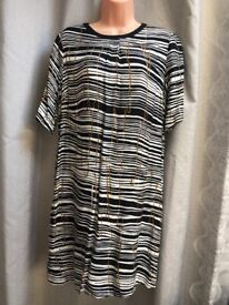 HOBBS Carla Black Animal Print Tunic Dress UK 12