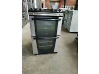 Ex Display Zanussi Black&Silver 60cm Full Gas Cooker With Double Oven