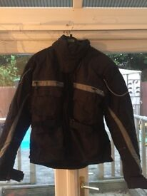 Motorbike jacket and trousers.