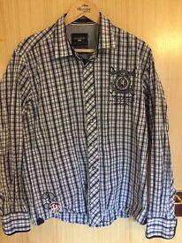 GALVANNI Men's long sleeve checkered Shirt - Size XL