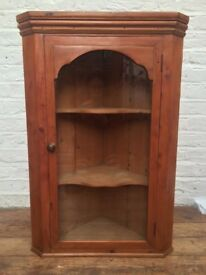 Lovely Old Pine Glazed Corner Cabinet with 2 Shelves. Height 81cm.