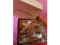 River island tan gladiator sandles shoes new in box