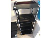 Black glass shelf unit