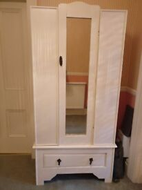 SMALL WOODEN VINTAGE WARDROBE painted in magnolia white