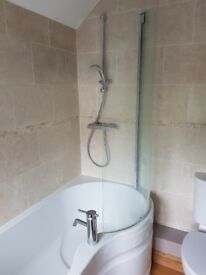 Used bath, shower screen and basin with pedestal, including taps
