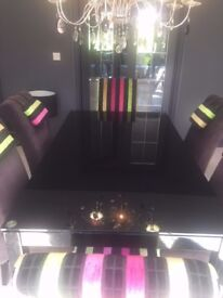 *NOW REDUCED* STUNNING Black glass dining table and 6 bespoke chairs in designer fabric