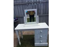 Shabby chic dressing table with mirror with Laura Ashley decorated drawers