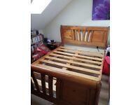 Solid wood kingsize bed frame