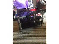 Tv stand black glass and silver vgc