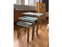 Glass and chrome nest of tables