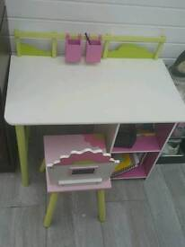 Kids writing table with matching chair and bookshelf
