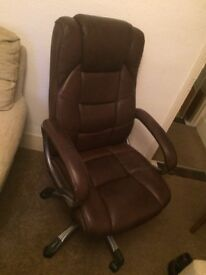 Brown leather faced office chair