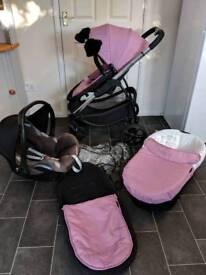 icandy strawberry 2 pram pushchair travel system pink 3in1 car seat girl newborn maxi cosy