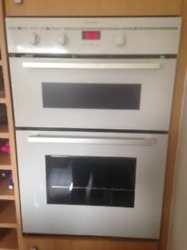 White glass built in cooker and white glass hob