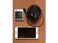 Samsung Galaxy S2 (white), unlocked with 2x battery and charger