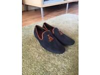 Topman blue suede loafers men