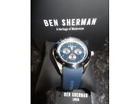 Ben Sherman Men's Quartz Watch with Blue Dial Analogue Display and Blue Silicone Strap WB011U