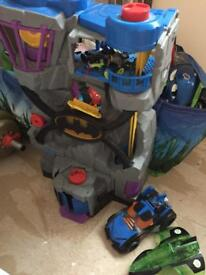 Batcave With Figures And Car/Ship.