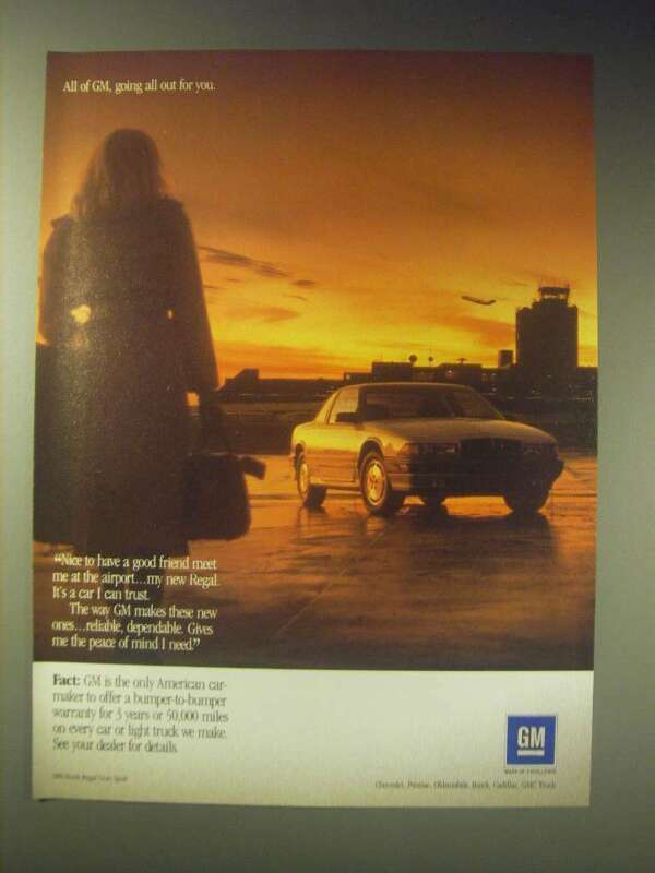 1989 GM 1989 Buick Regal Gran Sport Car Ad - All of GM, Going all out for you