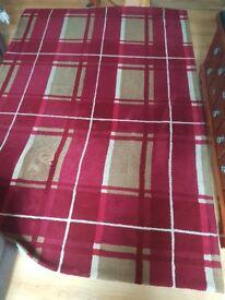 Large Red Tartan Dunelm Rug 92inX63in 234cmX160cm